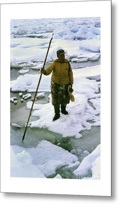 Metal Print featuring the photograph Inuit Seal Hunter Barrow Alaska July 1969 by California Views Mr Pat Hathaway Archives