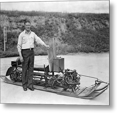 Inventor Of First Snowmobile Metal Print by Underwood Archives