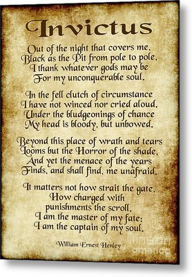 Invictus - Old Parchment Design Metal Print by Ginny Gaura