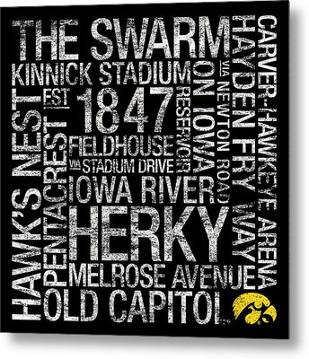 Iowa College Colors Subway Art Metal Print