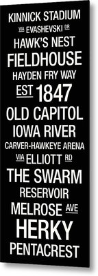 Iowa College Town Wall Art Metal Print by Replay Photos