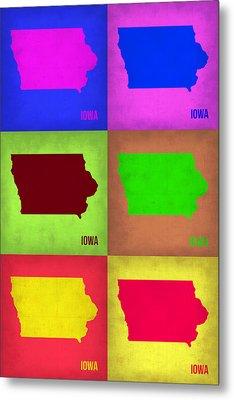 Iowa Pop Art Map 2 Metal Print by Naxart Studio