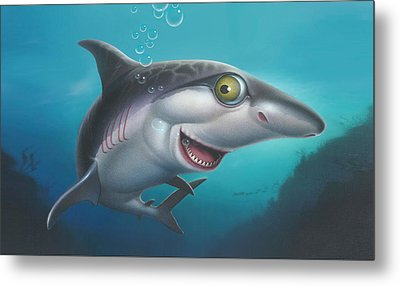 iPhone - Galaxy Case - friendly Shark Cartoony cartoon under sea  Metal Print by Walt Curlee