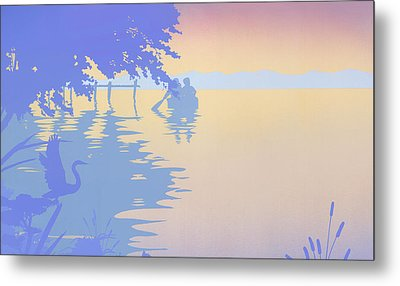 iPhone - Galaxy Case tropical boat Dock Sunset large pop art nouveau retro 1980s florida seascape Metal Print by Walt Curlee