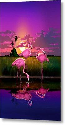 iPhone Case - Flamingoes Flamingos Tropical Sunset landscape florida everglades hot pink purple Metal Print by Walt Curlee