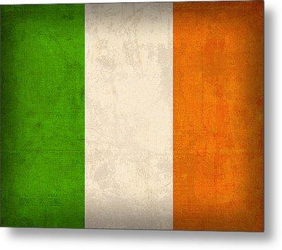 Ireland Flag Vintage Distressed Finish Metal Print