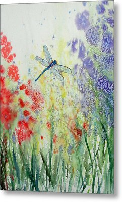 Iridescent Dragonfly Dances Among The Blooms Metal Print