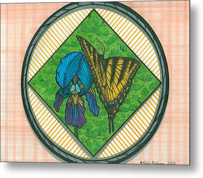 Iris And Butterfly Metal Print by Richie Montgomery