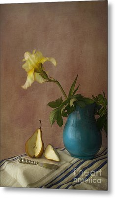 Iris And Pear Metal Print by Elena Nosyreva