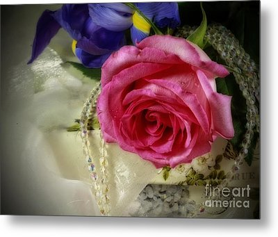 Iris And Rose On Vintage Treasure Box Metal Print by Inspired Nature Photography Fine Art Photography