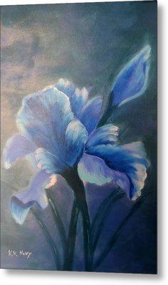 Iris Blue Metal Print by Kay Novy