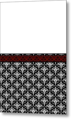 Iris Damask In Red Black And White Metal Print by Jenny Armitage