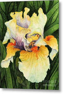 Metal Print featuring the painting Iris Elegance by Barbara Jewell