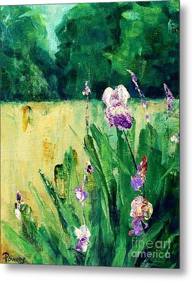 Metal Print featuring the painting Iris Field by Mary Lynne Powers