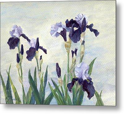 Irises Purple Flowers Painting Floral K. Joann Russell                                           Metal Print