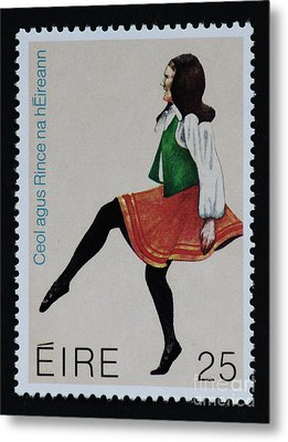 Irish Music And Dance Postage Stamp Print Metal Print by Andy Prendy