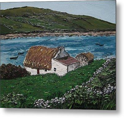 Irish Thatch Cottage Connemara Ireland Metal Print by Diana Shephard