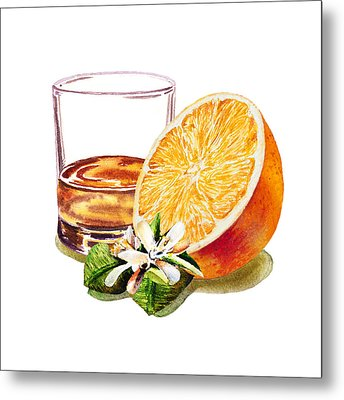 Metal Print featuring the painting Irish Whiskey And Orange by Irina Sztukowski