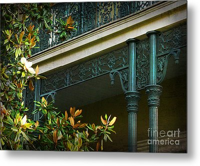 Iron Detail With Magnolia Tree Metal Print by Jeanne  Woods