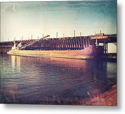 Iron Ore Freighter In Dock Metal Print by Phil Perkins