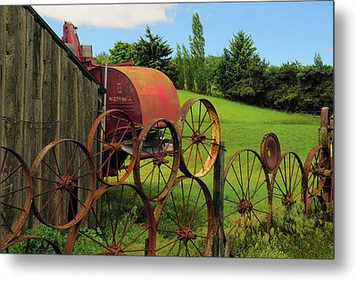 Iron Wheels, Dahmen Barn, Uniontown Metal Print