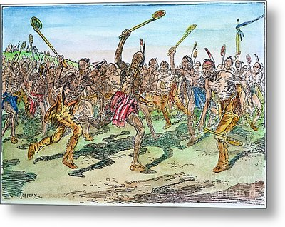 Iroquois - Lacrosse.  Metal Print by Granger