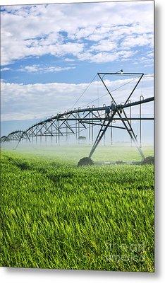 Irrigation Equipment On Farm Field Metal Print by Elena Elisseeva