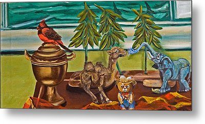 Metal Print featuring the painting Is It Time For A Shower by Susan Culver