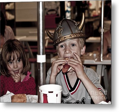 Metal Print featuring the photograph Is She Adoring Her Viking Or Coveting His Lunch by Sandi Mikuse
