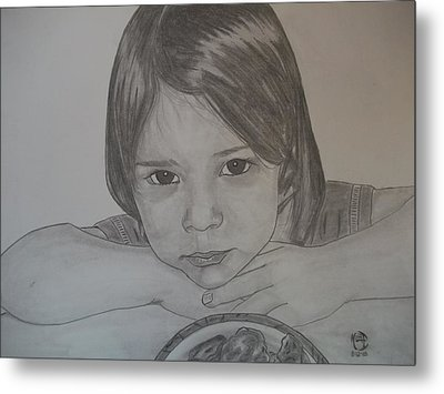 Metal Print featuring the drawing Isabella by Justin Moore