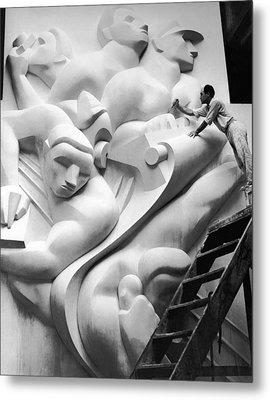 Isamu Noguchi Working Metal Print by Underwood Archives