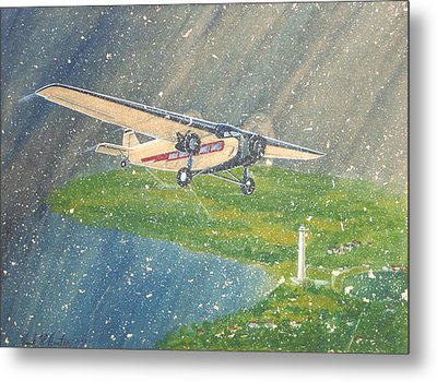 Island Airlines Ford Trimotor Over Put-in-bay In The Winter Metal Print