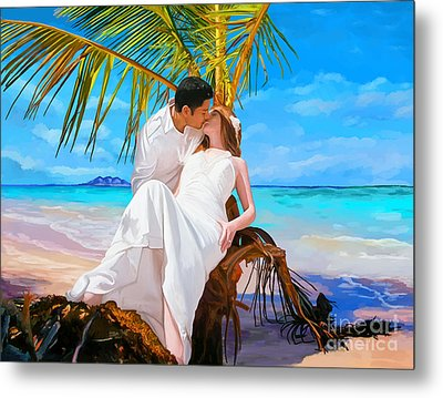 Metal Print featuring the painting Island Honeymoon by Tim Gilliland