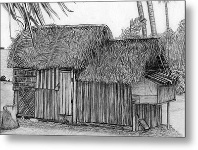 Metal Print featuring the drawing Island House 1 by Lew Davis
