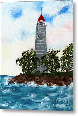 Island Lighthouse Metal Print by Barbara Griffin