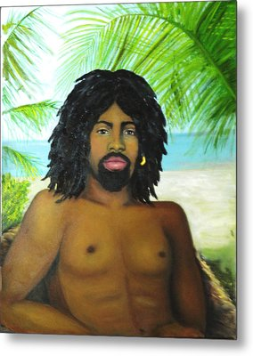 Metal Print featuring the painting Island Man by Sandra Nardone