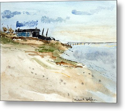 Metal Print featuring the painting Isolated Beach House by Michael Helfen