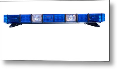 Isolated Police Emergency Light Roof Bar Metal Print by Fizzy Image