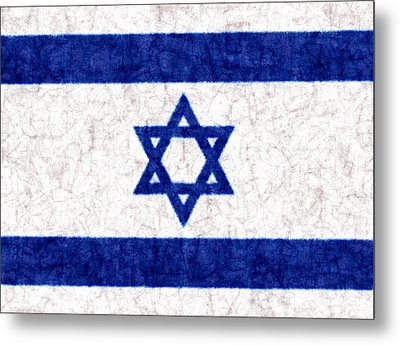 Israel Star Of David Flag Batik Metal Print