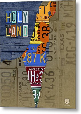 Israel The Holy Land Map Made With Recycled Usa License Plates Metal Print by Design Turnpike