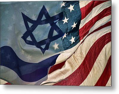 Israeli American Flags Metal Print by Ken Smith