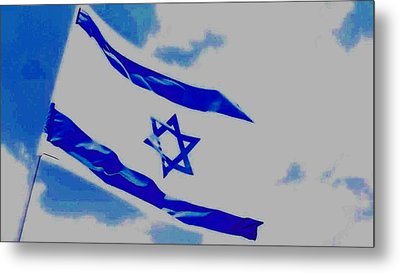 Metal Print featuring the photograph Israeli Flag by Diane Miller