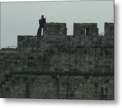 Israeli Soldier On The Walls Of The Old City Metal Print by Esther Newman-Cohen