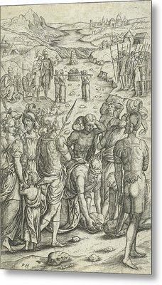 Israelites Cross The Jordan, Pieter Huys Metal Print by Pieter Huys And Pieter Van Der Borcht (i)