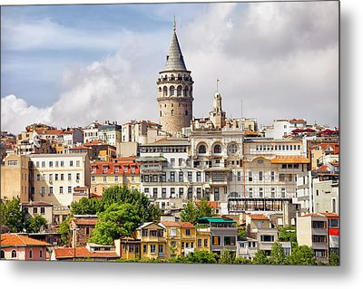 Istanbul Cityscape And Galata Tower Metal Print by Artur Bogacki
