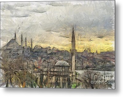 Istanbul Cityscape Digital Drawing Metal Print