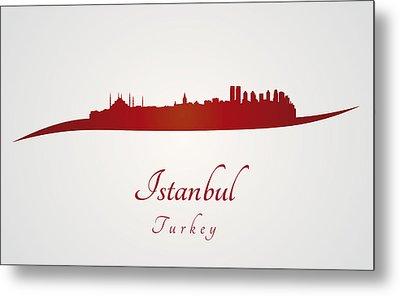 Istanbul Skyline In Red Metal Print