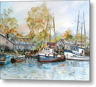 It Is A Busy Day Here At The Marina Metal Print by Dorothy Maier