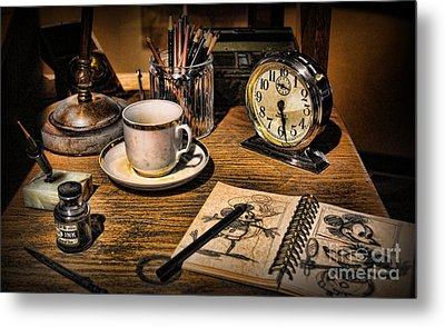 It Was All Started By A Mouse - Walt Disney's Desk Metal Print