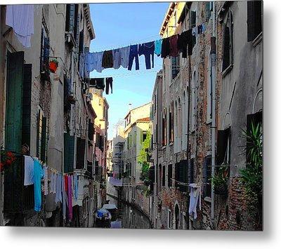 Italian Clotheslines Metal Print by Natalie Ortiz